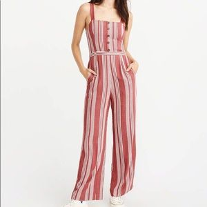 NWT AF button front red striped jumpsuit